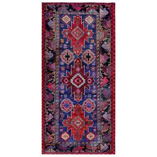 Herat Oriental Afghan Hand-knotted Tribal Balouchi Blue/ Red Wool Rug (4'6 x 9'4)