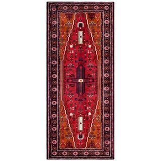 Herat Oriental Afghan Hand-knotted Tribal Balouchi Red/ Orange Wool Rug (4'1 x 9'8)