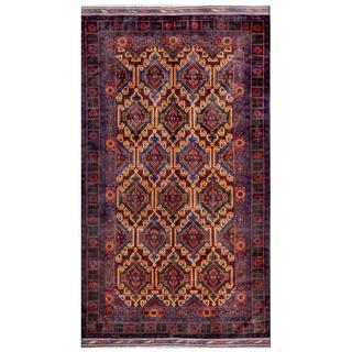 Herat Oriental Afghan Hand-knotted Tribal Balouchi Blue/ Gold Wool Rug (5'3 x 9'6)