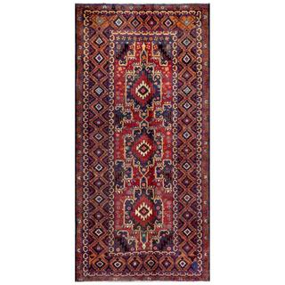 Afghan Hand-knotted Tribal Balouchi Blue/ Red Wool Rug (4' x 8'2)