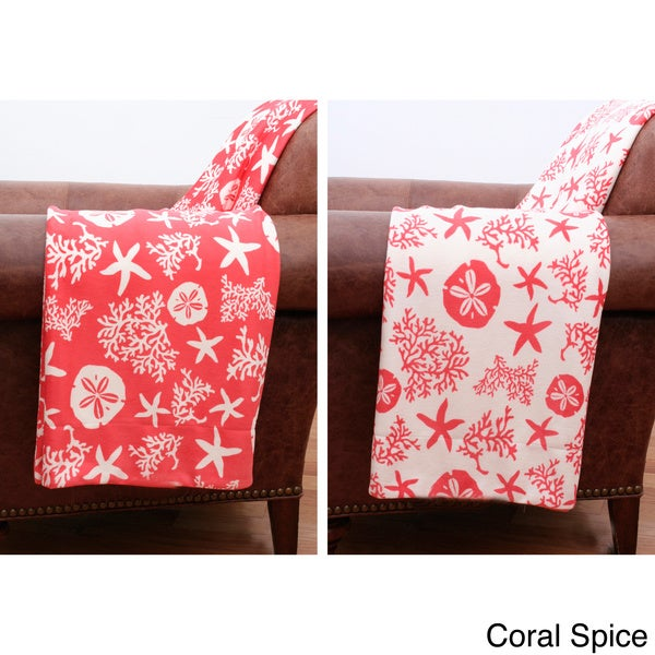 Coral and Starfish Reversible Microplush Throw Blanket