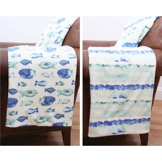 Petro Fish Reversible Microplush Throw Blanket