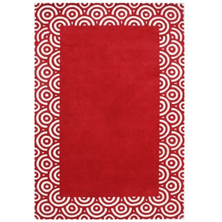 Handmade Geometric Red Blended Wool Rug (5' x 8')