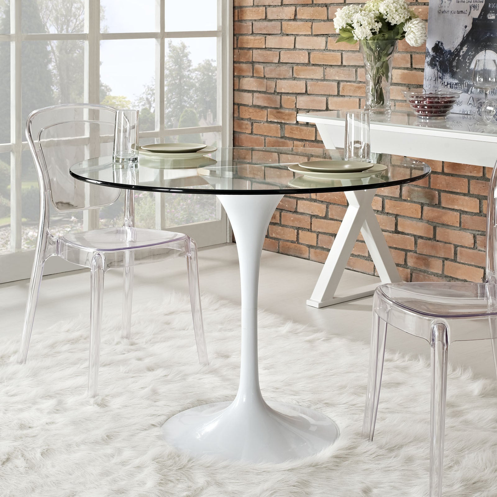 40 Inch Lippa Glass Top Dining Table With White Base Overstock