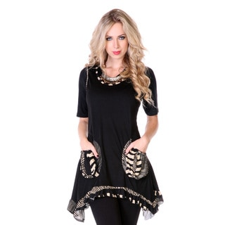 Women's Black Zebra Trim Trapeeze-hem Tunic
