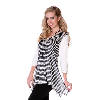 Women's Silver and White Striped Tunic
