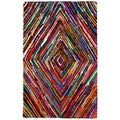 Kesa Multi-colored Diamond Pattern Recycled Cotton Rug (5'x8')
