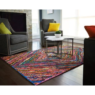 Kesa Multi-Colored Diamond Pattern Recycled Cotton Rug (9'x12')
