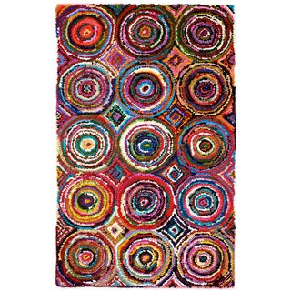 Tangi Multi-colored Circles Pattern Recycled Cotton Rug (9'x12')