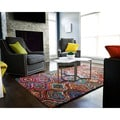 Ante Multi-colored Mod Geometric Pattern Recycled Cotton Rug (4'x6')
