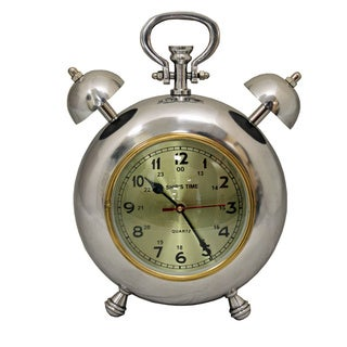 Ship's Time 12.5-inch Polished Nickel Metal Table Clock
