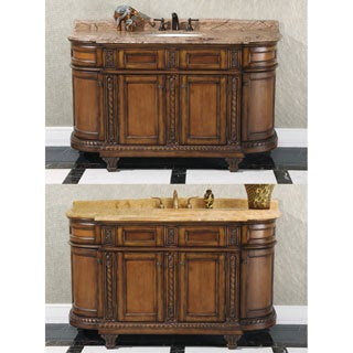 60-inch Single Sink Vintage Style Natural Stone Top Bathroom Vanity
