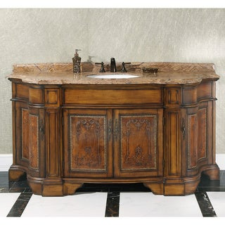 Natural Stone Top 72-inch Single Sink Vintage Style Bathroom Vanity