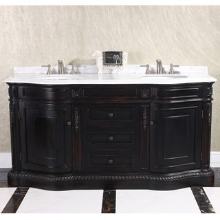 Natural Stone Top 68-inch Double Sink Vintage Style Bathroom Vanity