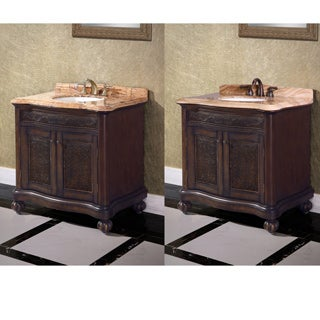 36-inch Single Sink Natural Stone Top Vintage Style Bathroom Vanity