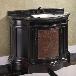 Natural Stone Top 43-inch Single Sink Vintage Style Bathroom Vanity