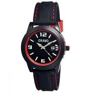Crayo Men's Pop Black Silicone Red Accented Analog Watch