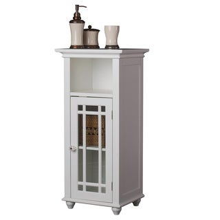 Stripe 1-door White Wood/ Glass Floor Cabinet with Open Shelf