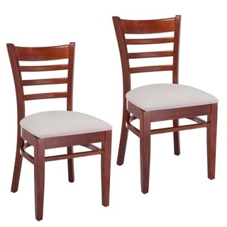 Ladder Back Natural/ Black Wood Dining Chairs