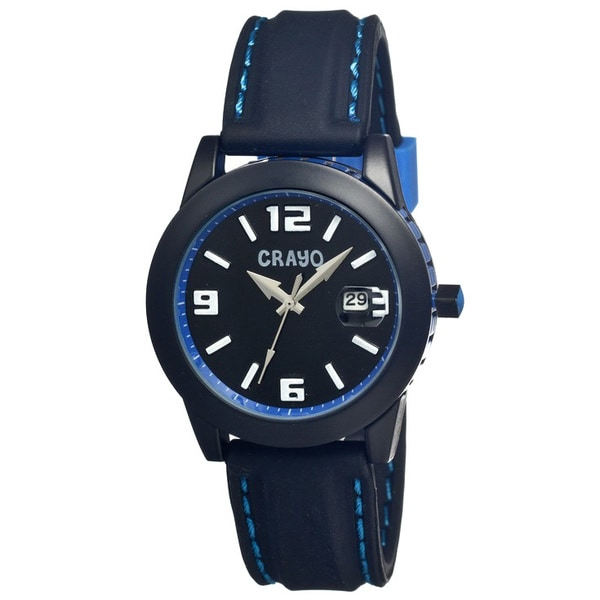 Crayo Men's Pop Black Silicone Analog Watch