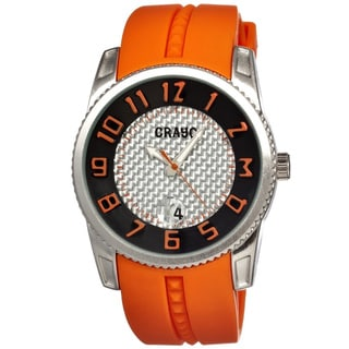 Crayo Men's 'Rugged' Silicone Orange Analog Watch