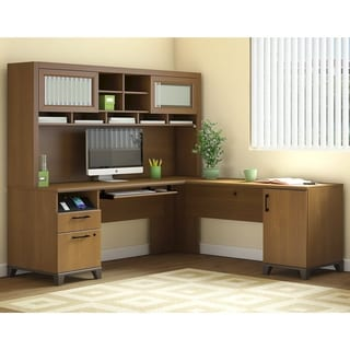 Bush Furniture Cabot Collection L Shaped Desk With Hutch