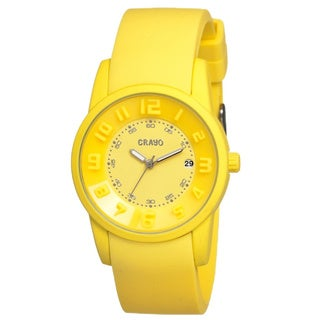 Crayo Men's Beam Yellow Silicone Analog Watch