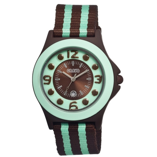 Crayo Carnival Brown/ Mint Nylon Analog Watch