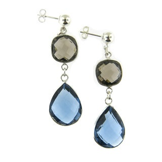 Sterling Silver Double Drop Faceted Gemstone Beauty Earrings (USA)