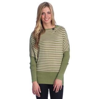 Hadari Women's Green Striped Boatneck Top