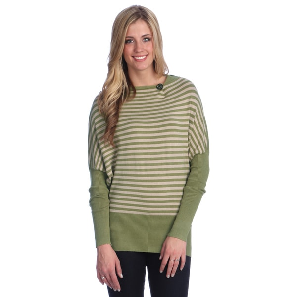 Hadari Women's Green Striped Boatneck Top