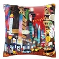 'Busy City Color Collage' 18-inch Velour Throw Pillow