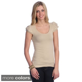 Hadari Women's Solid Puffed Sleeve Top