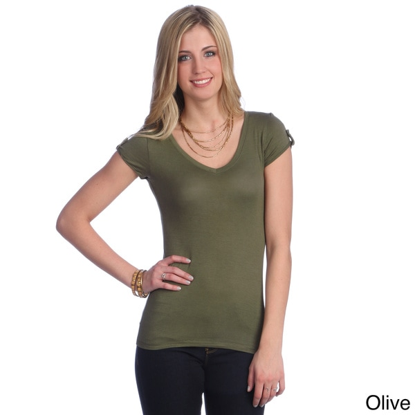 Hadari Women's Basic Cuffed Sleeve V-neck T-shirt
