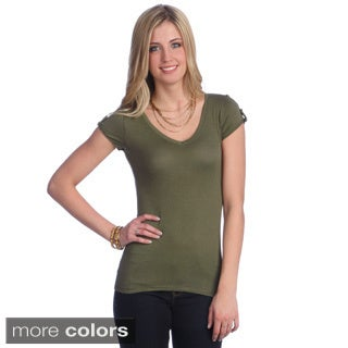 Hadari Women's Basic Cuffed Sleeve V-neck T-shirt