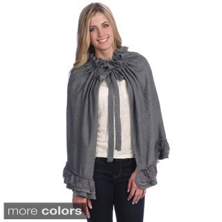 Hadari Women's Ruffled Tie-wrap Cape (One size)