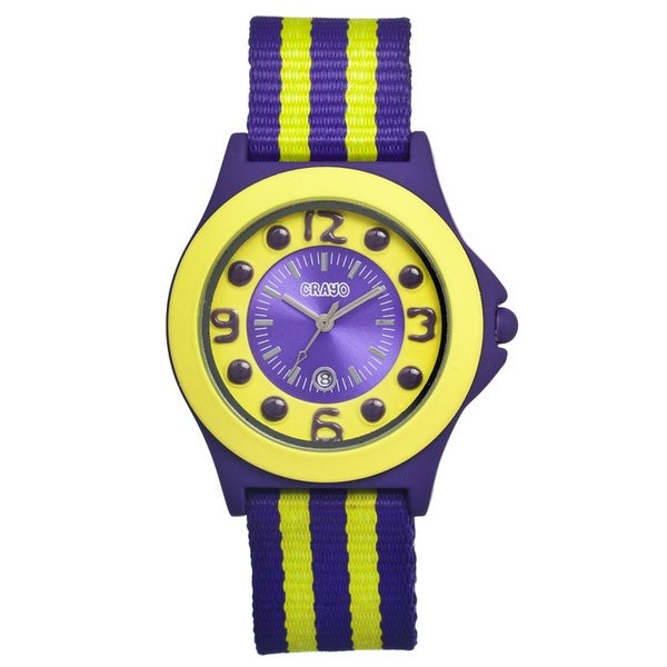 Crayo Carnival Lime/ Purple Nylon Analog Watch