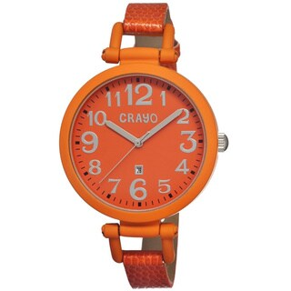 Crayo Women's 'Balloon Orange' Leather Strap Analog Watch