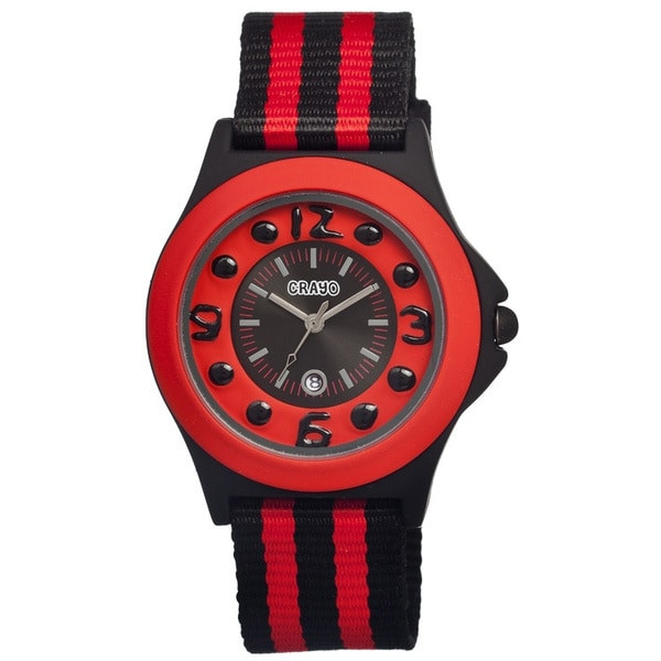 Crayo Carnival Red/ Black Nylon Analog Watch