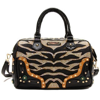 Nicole Lee 'Zuri' Zebra Studded Boston Bag