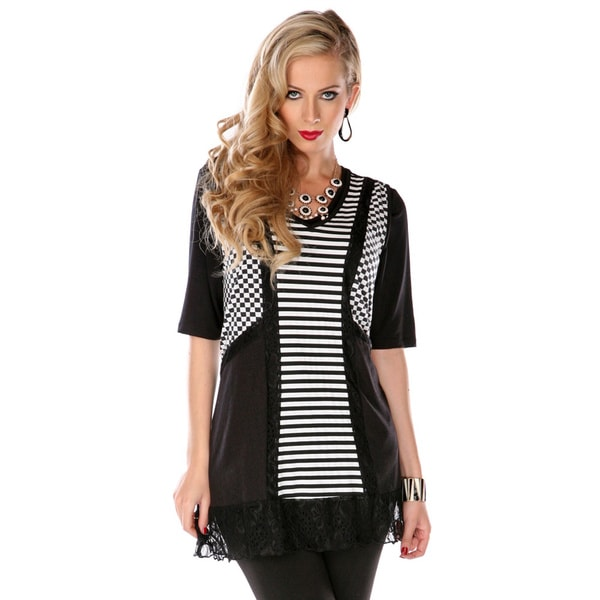 Firmiana Women's Black and White Multi-print and Lace Spliced Tunic