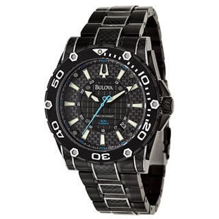 Bulova Men's 'Precisionist Champlain Diver' Black Stainless Steel Carbon Fiber Quartz Watch