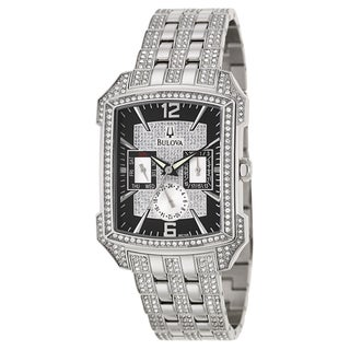 Bulova Men's 96C108 'Crystal' Stainless Steel and Crystals Military Time Watch
