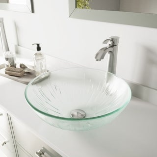 Vigo Icicles Glass Vessel Sink and Otis Brushed Nickel Faucet Set