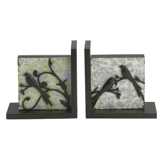Elements Black Bird on Branch Floral Bookend (Set of 2)