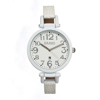 Crayo Women's 'Balloon White' Leather Strap Analog Watch