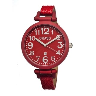 Crayo Women's 'Balloon Red' Leather Strap Analog Watch