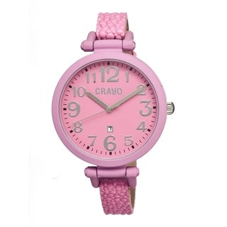 Crayo Women's 'Balloon Hot Pink' Leather Strap Analog Watch
