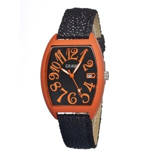 Crayo 'Spectrum Black/ Orange' Leather Strap Analog Watch