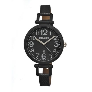 Crayo Women's 'Balloon Black' Leather Strap Analog Watch